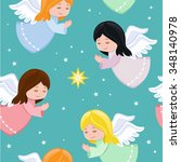 Cute Little Angels Flying In The SkySeamless BackgroundVector Illustration