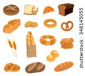 bakery fresh bread varieties... | Shutterstock .eps vector #348145055