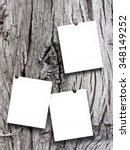 three square empty photo frames ... | Shutterstock . vector #348149252