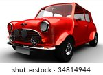 Classic Small Car isolated on white - stock photo
