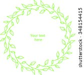 green wreath with place for text | Shutterstock .eps vector #348154415