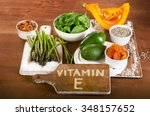 foods containing vitamin e on a ... | Shutterstock . vector #348157652
