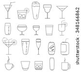 set of glasses and mugs in... | Shutterstock .eps vector #348166862