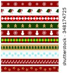 set of christmas seamless... | Shutterstock .eps vector #348174725