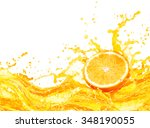 orange juice splashing with its ... | Shutterstock . vector #348190055