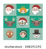 christmas character portraits | Shutterstock .eps vector #348191192
