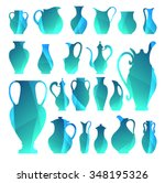 vector silhouettes of vases.... | Shutterstock .eps vector #348195326