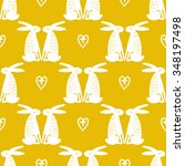 seamless cute pattern with hare....   Shutterstock .eps vector #348197498