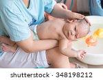 little newborn baby having a... | Shutterstock . vector #348198212