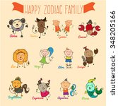 cute 12 zodiac signs family  | Shutterstock .eps vector #348205166