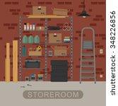 Storeroom Interior With Metal...