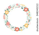 floral frame. greeting card... | Shutterstock .eps vector #348243212