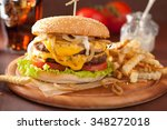 double cheeseburger with tomato ... | Shutterstock . vector #348272018