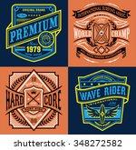 vintage surfing emblem graphic...   Shutterstock .eps vector #348272582