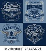vintage motorsport emblem...   Shutterstock .eps vector #348272705