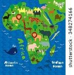 cartoon map of africa with wild ...   Shutterstock .eps vector #348274166