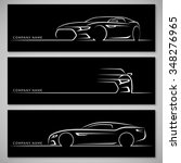 Stock vector modern sports car silhouettes front and side view vector background 348276965