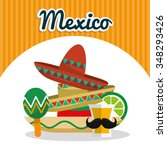 mexico concept with landmarks...   Shutterstock .eps vector #348293426