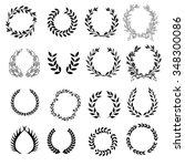 set of classical laurel wreaths ... | Shutterstock .eps vector #348300086