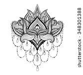 vector ornamental lotus  ethnic ... | Shutterstock .eps vector #348301388