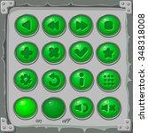 set of green  buttons  vector...