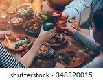 cheers to us  top view of... | Shutterstock . vector #348320015