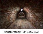 long underground brick tunnel... | Shutterstock . vector #348357662