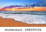 colorful ocean beach sunrise. | Shutterstock . vector #348359156