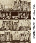 pattern with old bookshelves in ... | Shutterstock . vector #348362456