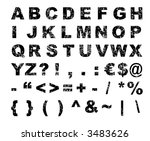 Grunge font alphabet - letters, numbers (vector, illustration) - stock vector
