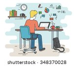 student is working with laptop. ... | Shutterstock . vector #348370028