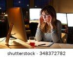 portrait of stressed... | Shutterstock . vector #348372782