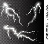 set of lightnings.  magic and... | Shutterstock .eps vector #348373022