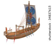 egyptian boat. 3d render with... | Shutterstock . vector #34837615