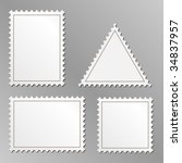 vector set of blank postage... | Shutterstock .eps vector #34837957