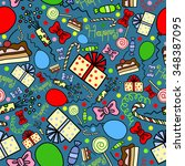 seamless pattern with gifts ... | Shutterstock .eps vector #348387095