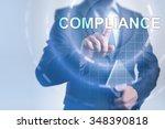 businessman pressing button on... | Shutterstock . vector #348390818