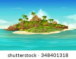 tropical island  vector...