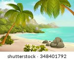 tropical beach vector background | Shutterstock .eps vector #348401792
