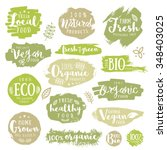 hand drawn set of green  eco ... | Shutterstock .eps vector #348403025