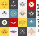vintage frames  labels. tennis...   Shutterstock . vector #348421682