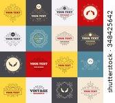 vintage frames  labels. hands...   Shutterstock . vector #348425642