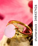 Pink Jade Gold Ring With...