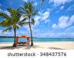 lunch time on tropical sandy... | Shutterstock . vector #348437576
