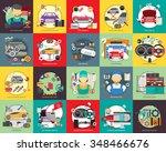 mechanic and car repair | Shutterstock .eps vector #348466676