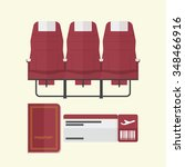 airplane seat with passport and ... | Shutterstock .eps vector #348466916