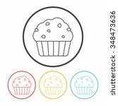 dessert cake line icon | Shutterstock .eps vector #348473636