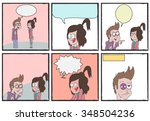 boy and girl argue comic strip... | Shutterstock .eps vector #348504236