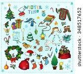 winter season themed doodle set ... | Shutterstock .eps vector #348517652