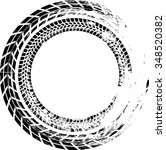 tire track vector round border... | Shutterstock .eps vector #348520382